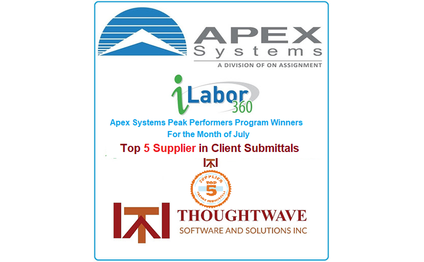 Apex Systems recognized Thoughtwave as the Top 5 Supplier